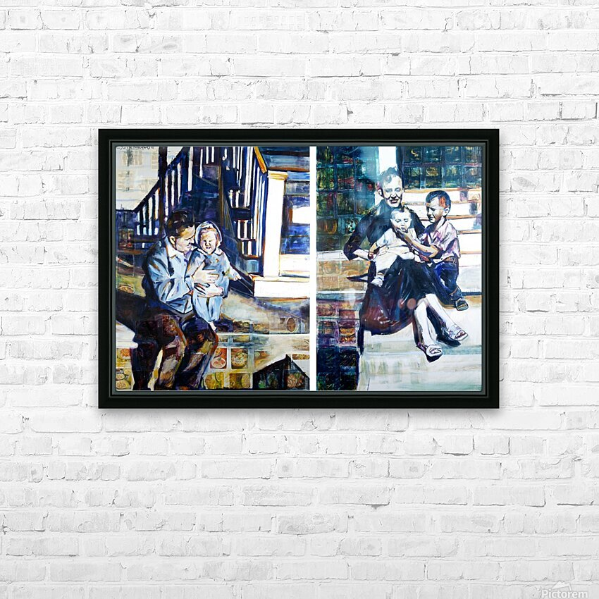Louisiana father and Mother at the Stairs Diptych with Vintage Recipe Collage HD Sublimation Metal print with Decorating Float Frame (BOX)