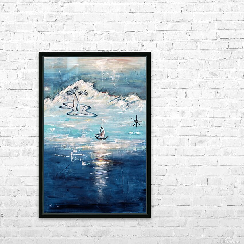 Tropical island paradise HD Sublimation Metal print with Decorating Float Frame (BOX)
