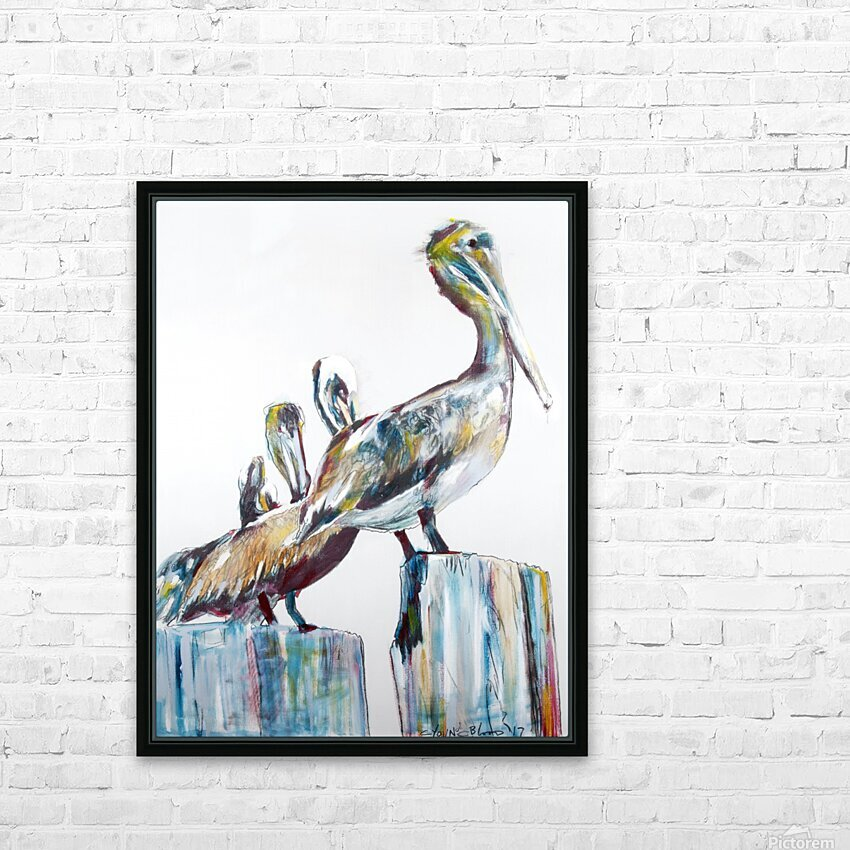 Bold Louisiana Pelicans in the Fog HD Sublimation Metal print with Decorating Float Frame (BOX)