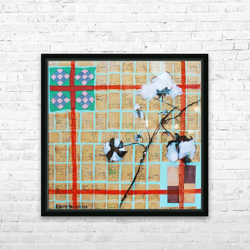 Louisiana Quilt with Cotton  and Vintage Company Store Receipts HD Sublimation Metal print with Decorating Float Frame (BOX)