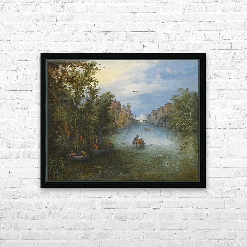 Boats by the river HD Sublimation Metal print with Decorating Float Frame (BOX)