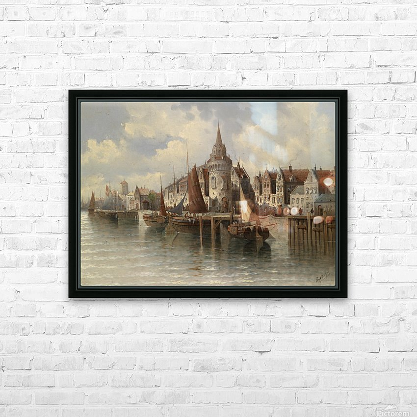 Blick auf eine Hafenstadt HD Sublimation Metal print with Decorating Float Frame (BOX)