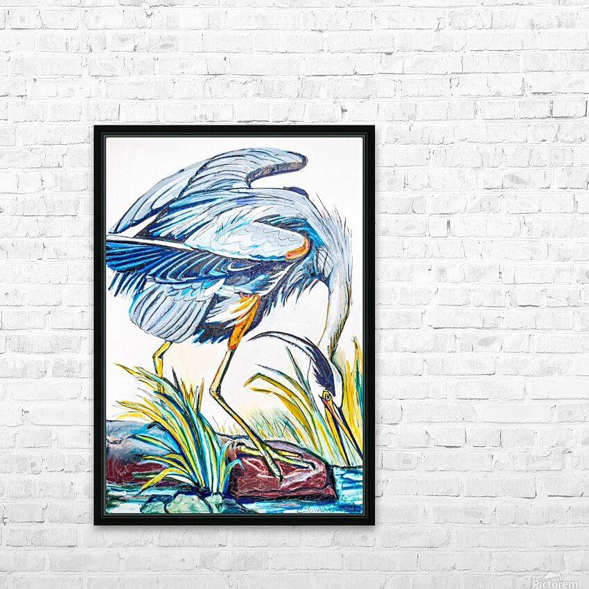 Louisiana Blue Heron Catching Fish- Bright HD Sublimation Metal print with Decorating Float Frame (BOX)
