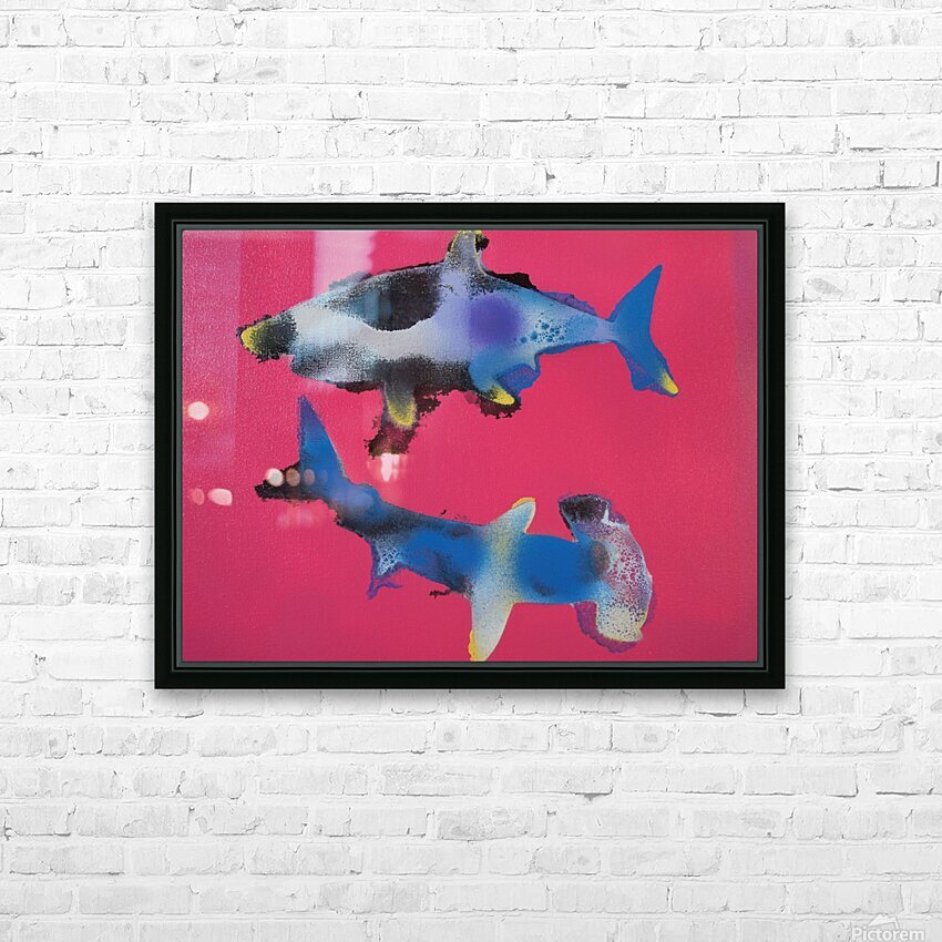 TWO HUNGRY SHARKS HD Sublimation Metal print with Decorating Float Frame (BOX)