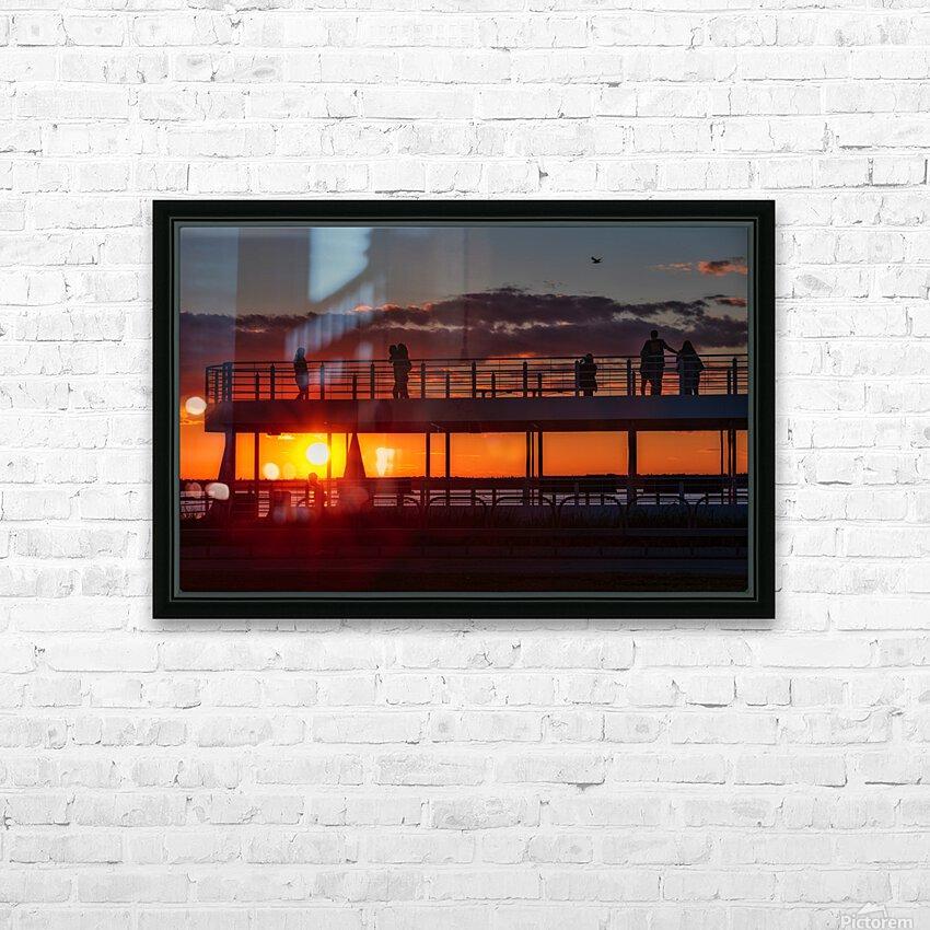 Coucher de  soleil sur Rimouski HD sublimation métal imprimé avec décoration flotteur cadre (boîte)