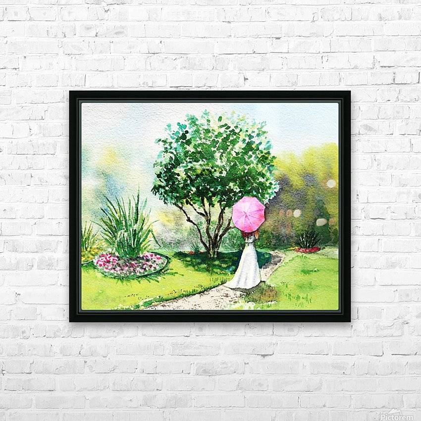 Girl With Pink Umbrella HD Sublimation Metal print with Decorating Float Frame (BOX)