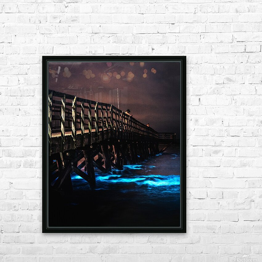 Bioluminescence - Yorktown Beach HD Sublimation Metal print with Decorating Float Frame (BOX)