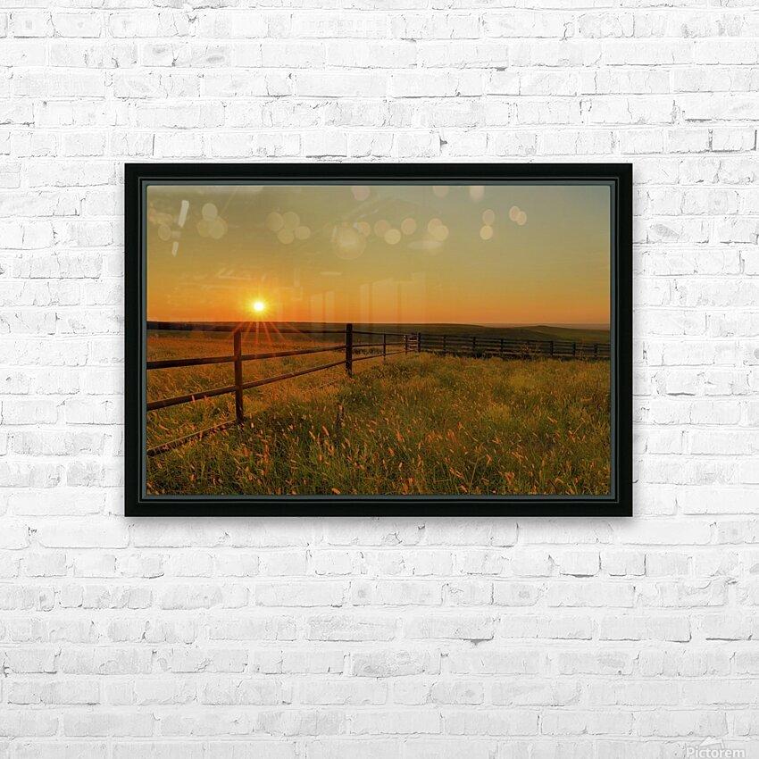 Cattle Pens Morning Sunburst HD Sublimation Metal print with Decorating Float Frame (BOX)