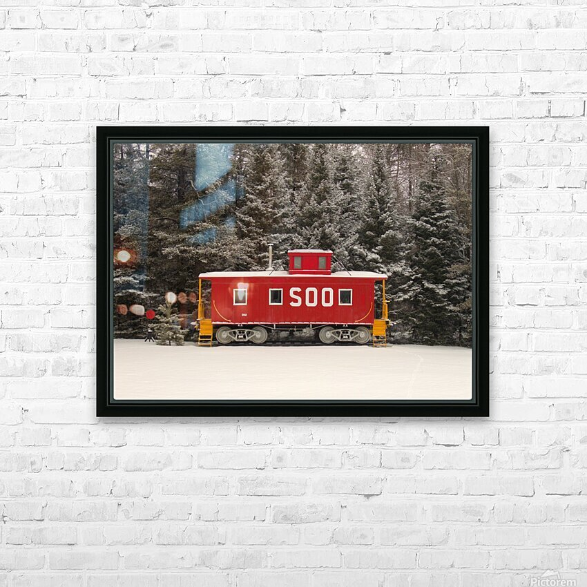 Soo Caboose in Fresh Snow HD Sublimation Metal print with Decorating Float Frame (BOX)