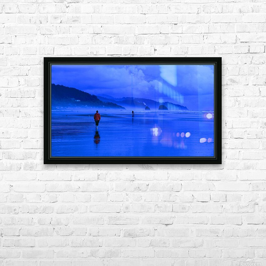 Woman in Red on Blue Beach HD Sublimation Metal print with Decorating Float Frame (BOX)