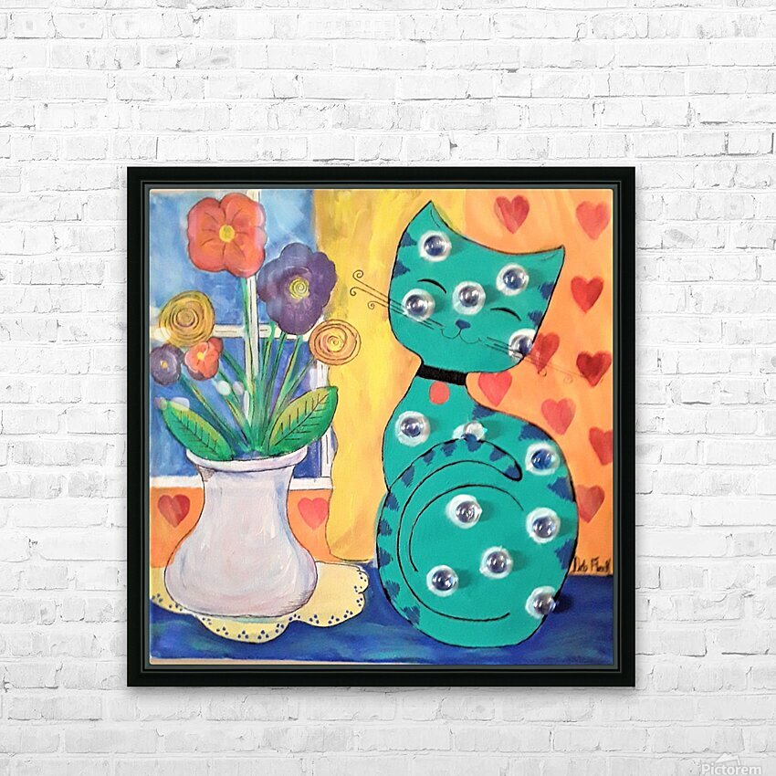 Teal Kitty HD Sublimation Metal print with Decorating Float Frame (BOX)