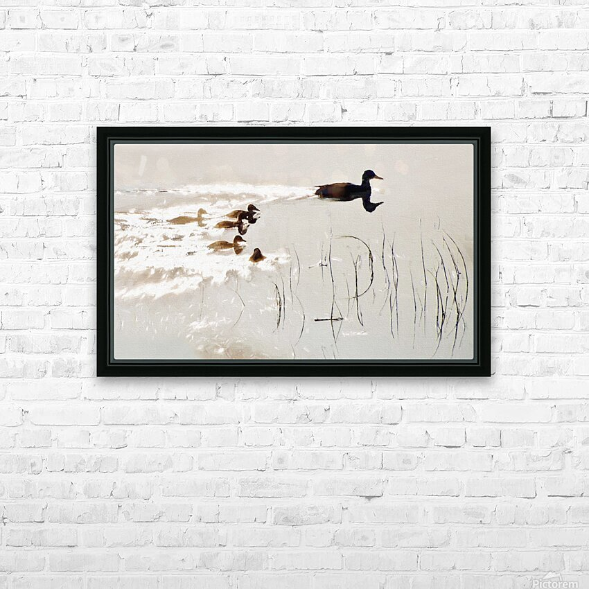 Duck Family HD Sublimation Metal print with Decorating Float Frame (BOX)