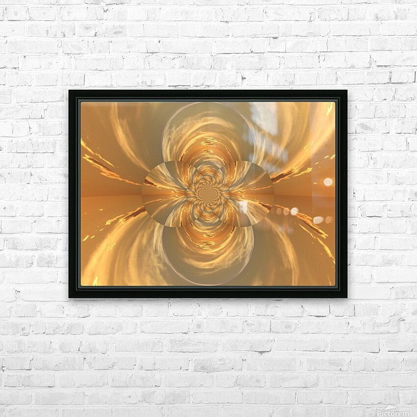 Golden Lotus  HD Sublimation Metal print with Decorating Float Frame (BOX)