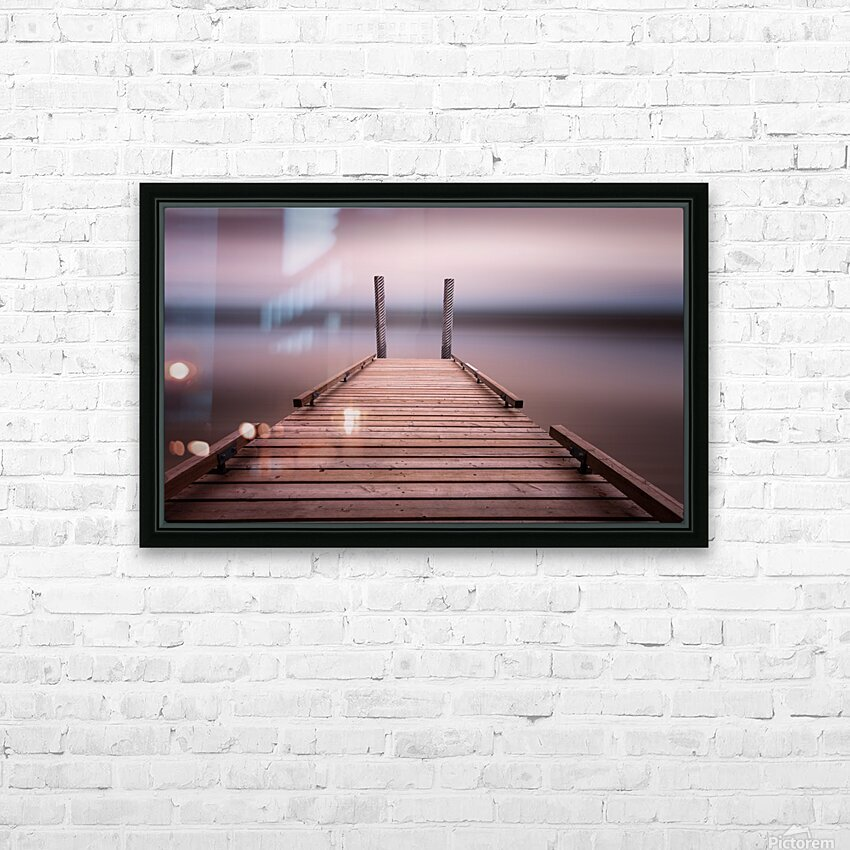 The jetty on Comox Lake HD Sublimation Metal print with Decorating Float Frame (BOX)