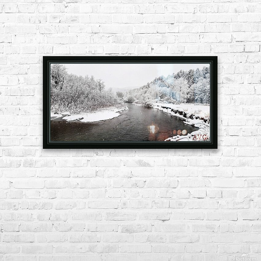 Dog River-- Winter HD Sublimation Metal print with Decorating Float Frame (BOX)