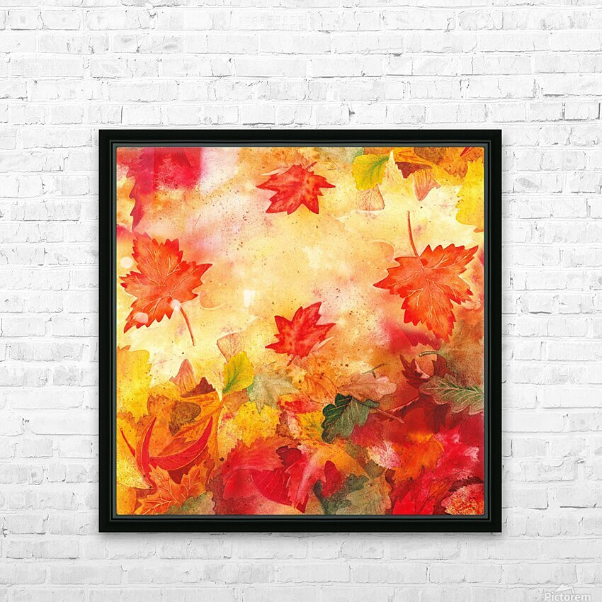 Welcome Fall Red Green Yellow Birch Oak Maple Watercolor Leaves HD Sublimation Metal print with Decorating Float Frame (BOX)