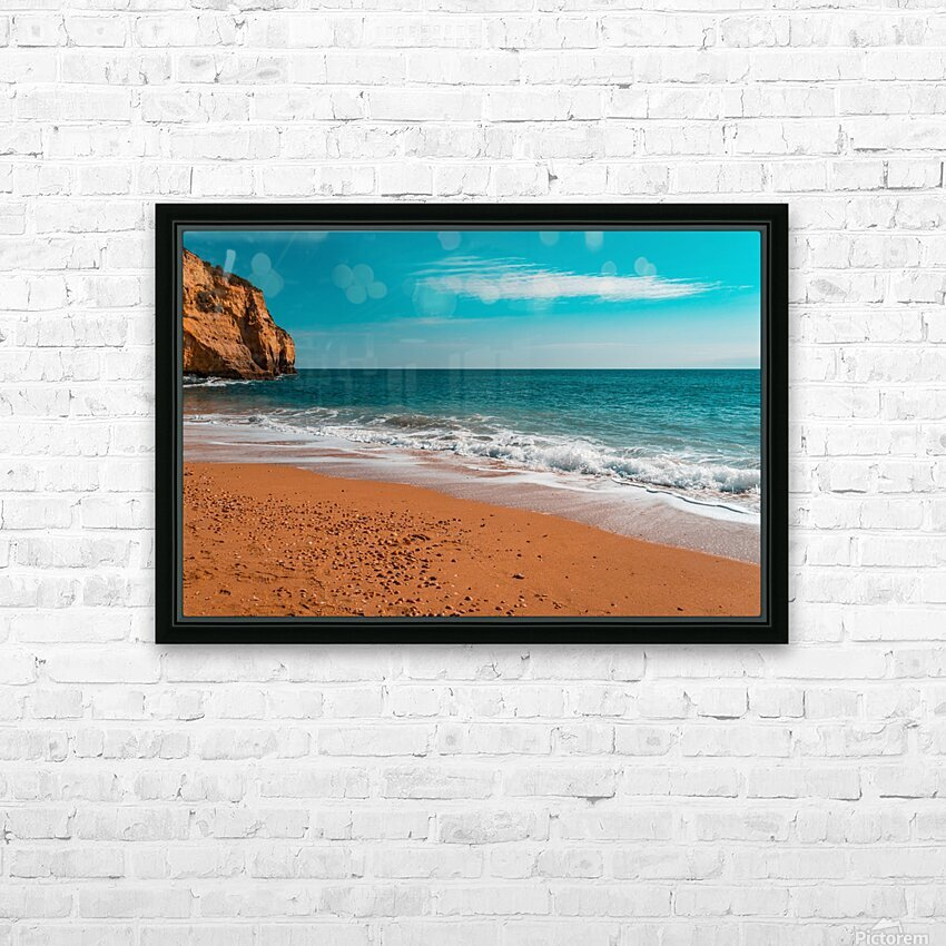 Ocean Beach in Teal and Orange HD Sublimation Metal print with Decorating Float Frame (BOX)