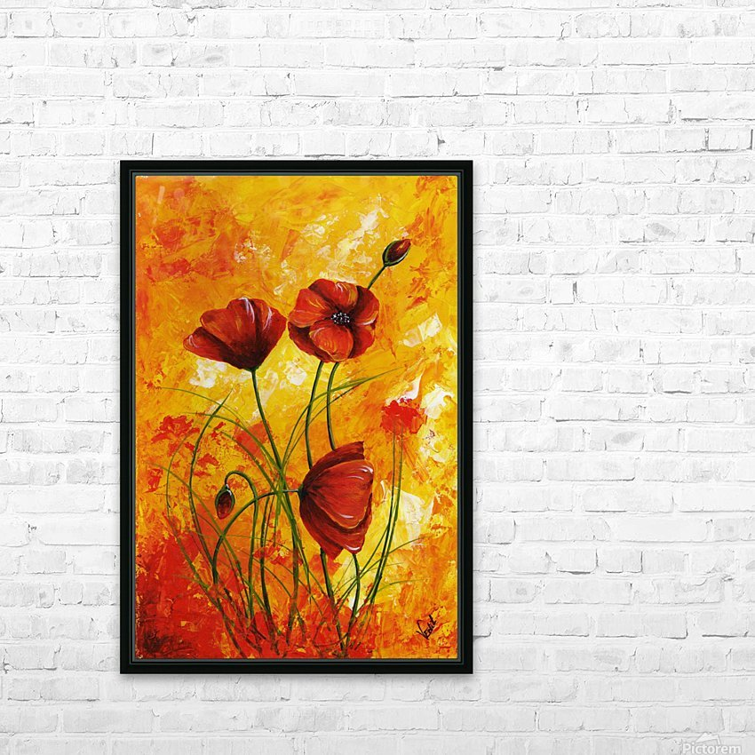 Edit Voros Red Poppies 006 HD Sublimation Metal print with Decorating Float Frame (BOX)