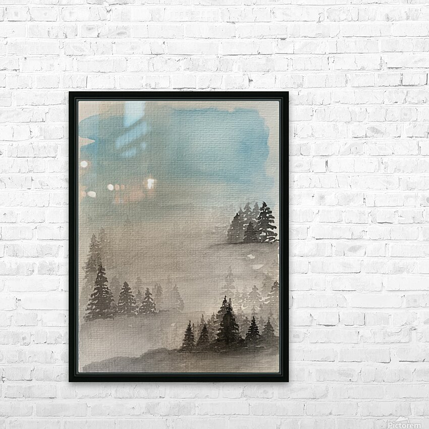 Trees in the Mist HD Sublimation Metal print with Decorating Float Frame (BOX)