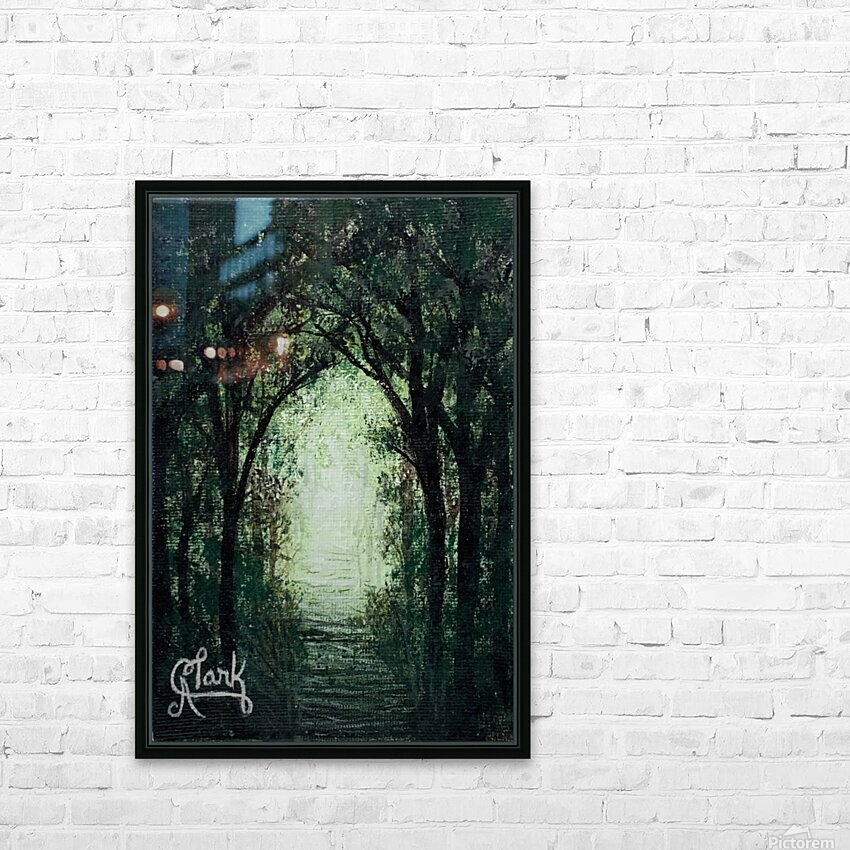 Path in the Woods HD Sublimation Metal print with Decorating Float Frame (BOX)