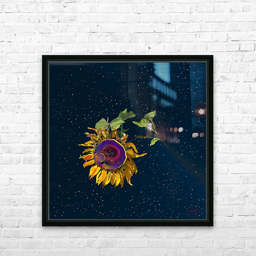Sunflower in Space HD Sublimation Metal print with Decorating Float Frame (BOX)