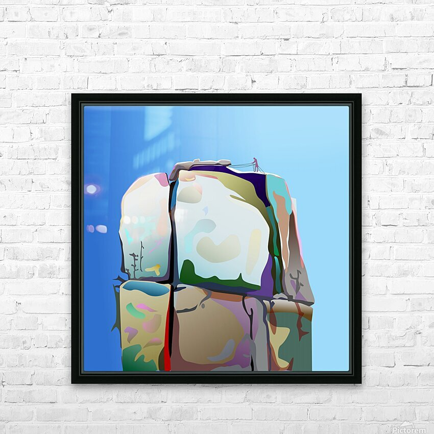 Man on Mountain HD Sublimation Metal print with Decorating Float Frame (BOX)