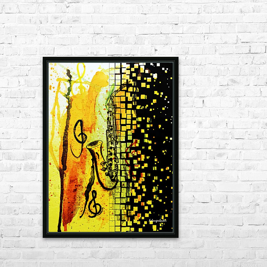 Saxophone Escaping HD Sublimation Metal print with Decorating Float Frame (BOX)