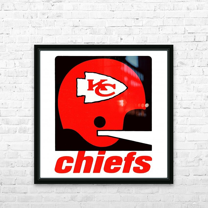Vintage Kansas City Chiefs Helmet Art HD Sublimation Metal print with Decorating Float Frame (BOX)