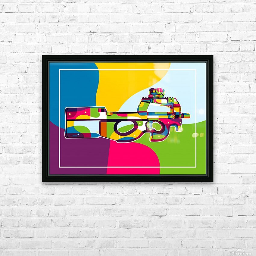FN P90 Pop Art HD Sublimation Metal print with Decorating Float Frame (BOX)