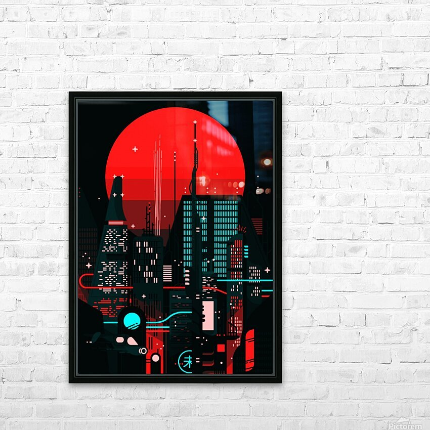 Neon City HD Sublimation Metal print with Decorating Float Frame (BOX)