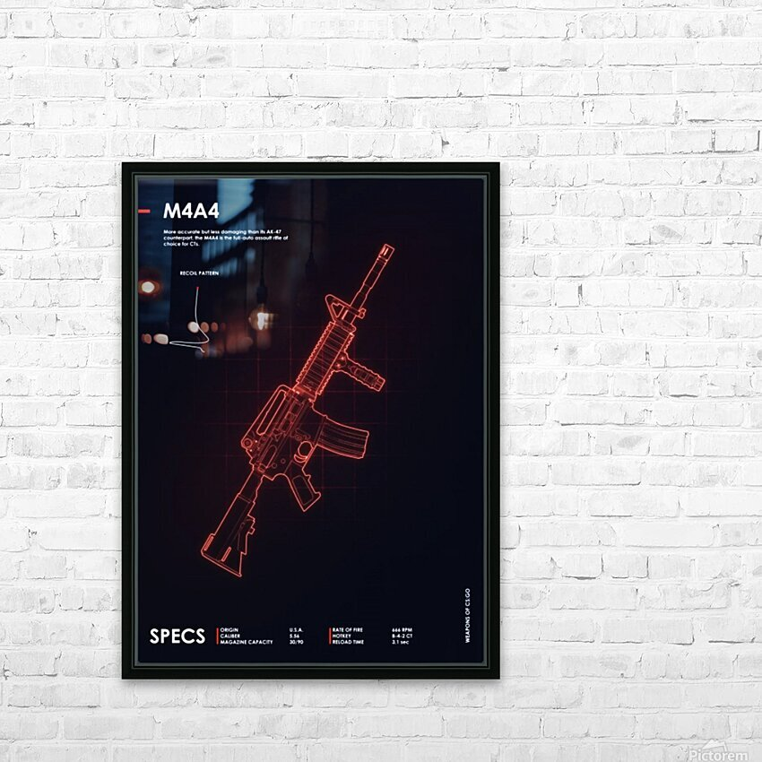 M4A4 CSGO WEAPON HD Sublimation Metal print with Decorating Float Frame (BOX)