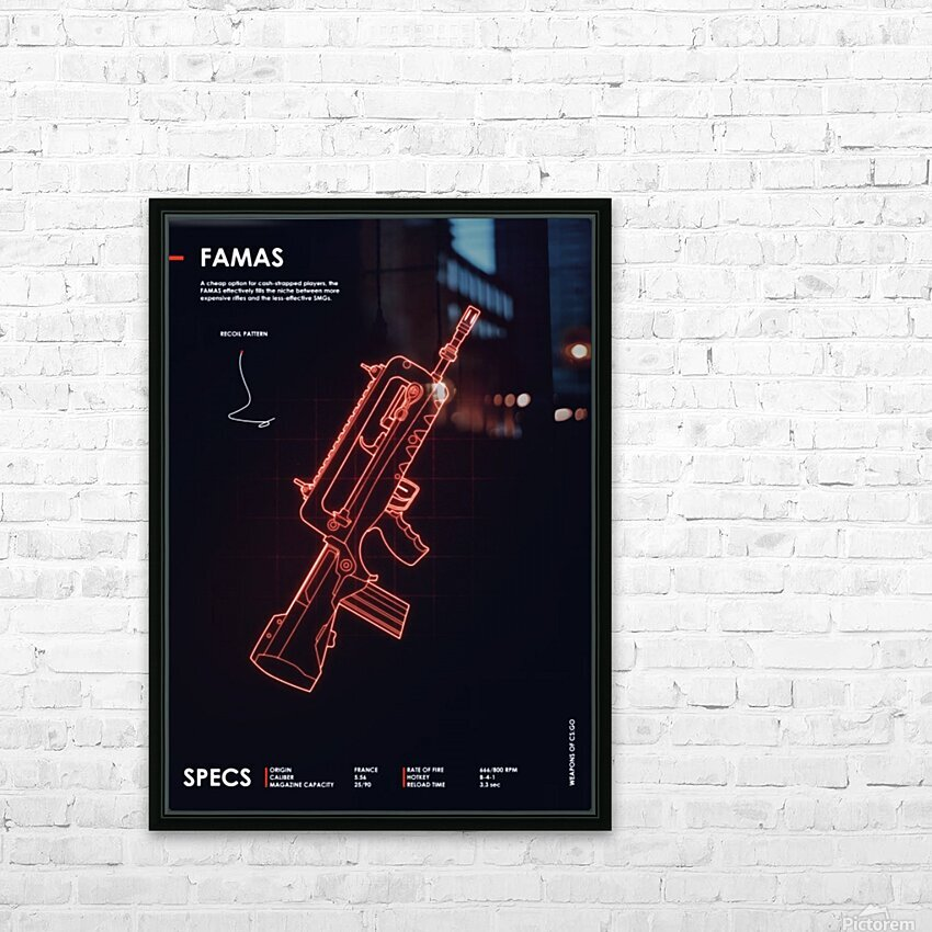 FAMAS CSGO WEAPON HD Sublimation Metal print with Decorating Float Frame (BOX)