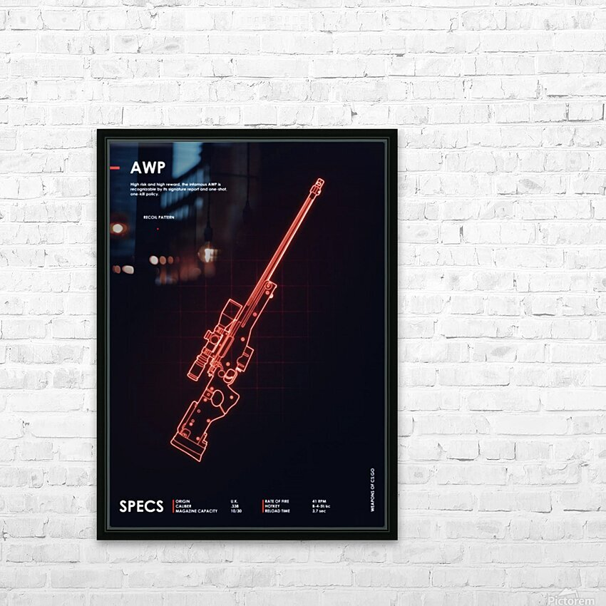 AWP CSGO WEAPON HD Sublimation Metal print with Decorating Float Frame (BOX)