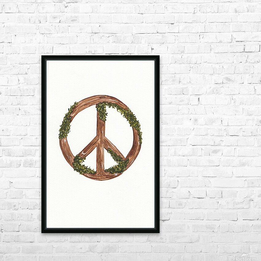 Peace Sign HD Sublimation Metal print with Decorating Float Frame (BOX)