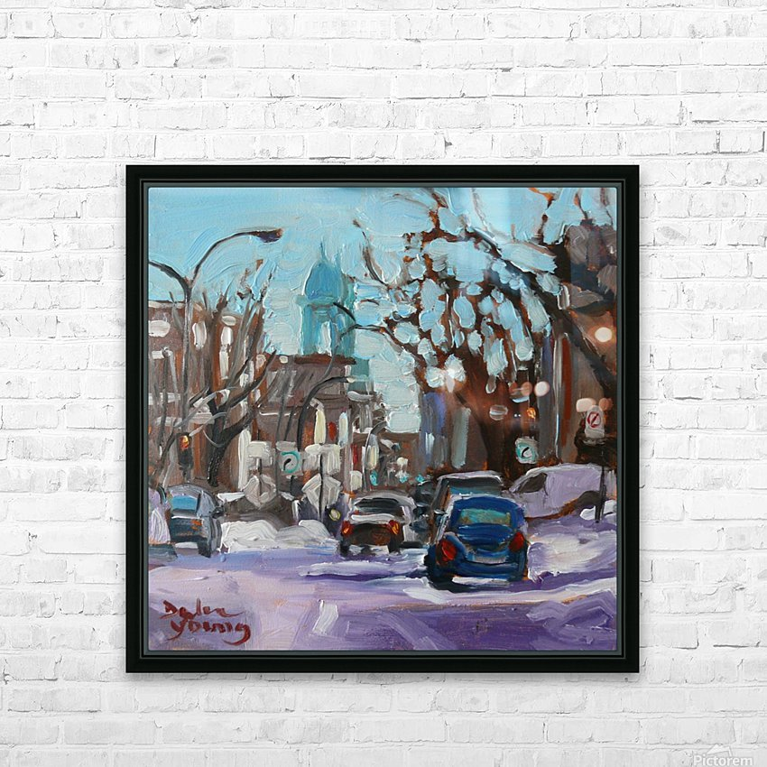 Montreal Winter Scene, Petite Italie HD Sublimation Metal print with Decorating Float Frame (BOX)