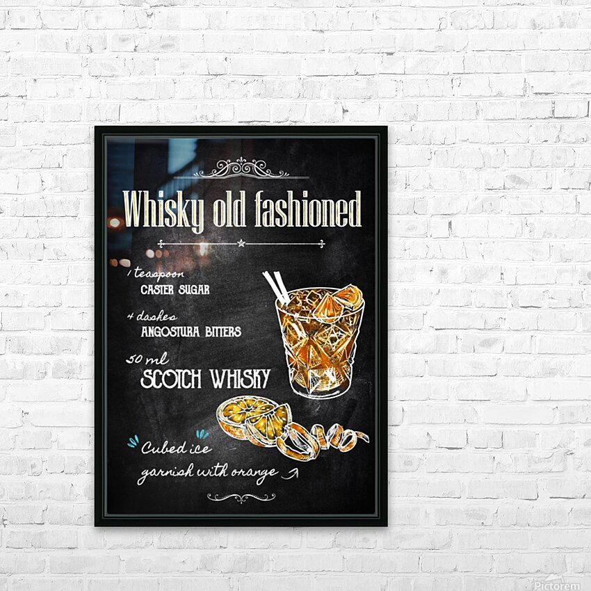 Whisky old fashioned HD Sublimation Metal print with Decorating Float Frame (BOX)