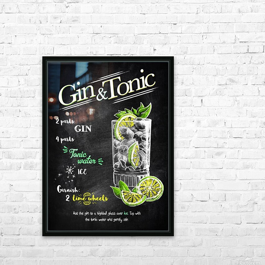 Gin and Tonic HD Sublimation Metal print with Decorating Float Frame (BOX)