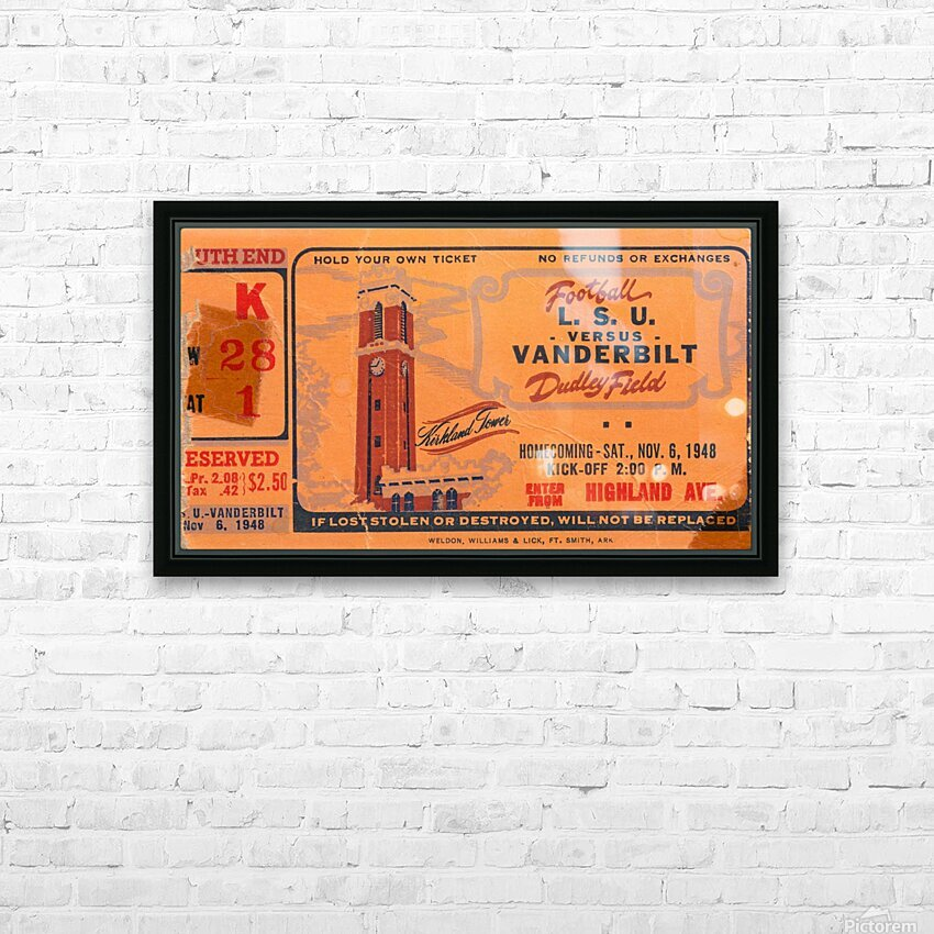 1948 LSU vs. Vanderbilt HD Sublimation Metal print with Decorating Float Frame (BOX)