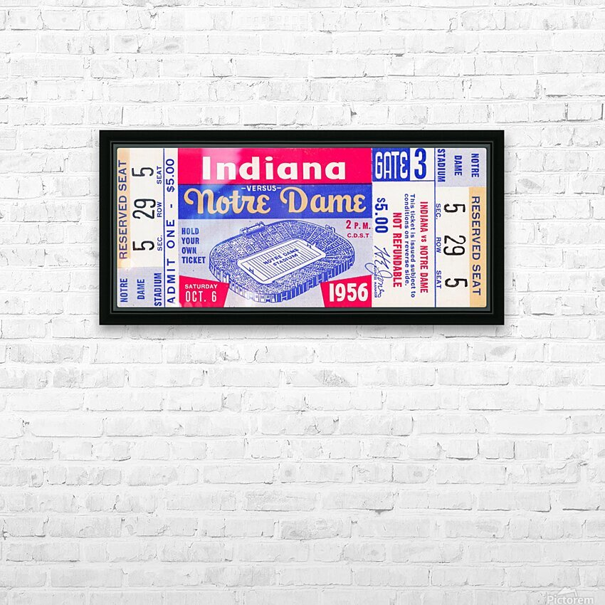 1956 Notre Dame vs. Indiana HD Sublimation Metal print with Decorating Float Frame (BOX)