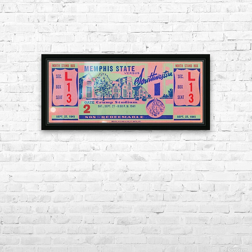 1941 Memphis State HD Sublimation Metal print with Decorating Float Frame (BOX)