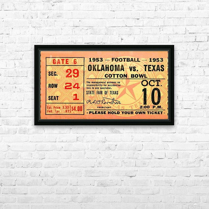 1953 Oklahoma vs. Texas HD Sublimation Metal print with Decorating Float Frame (BOX)
