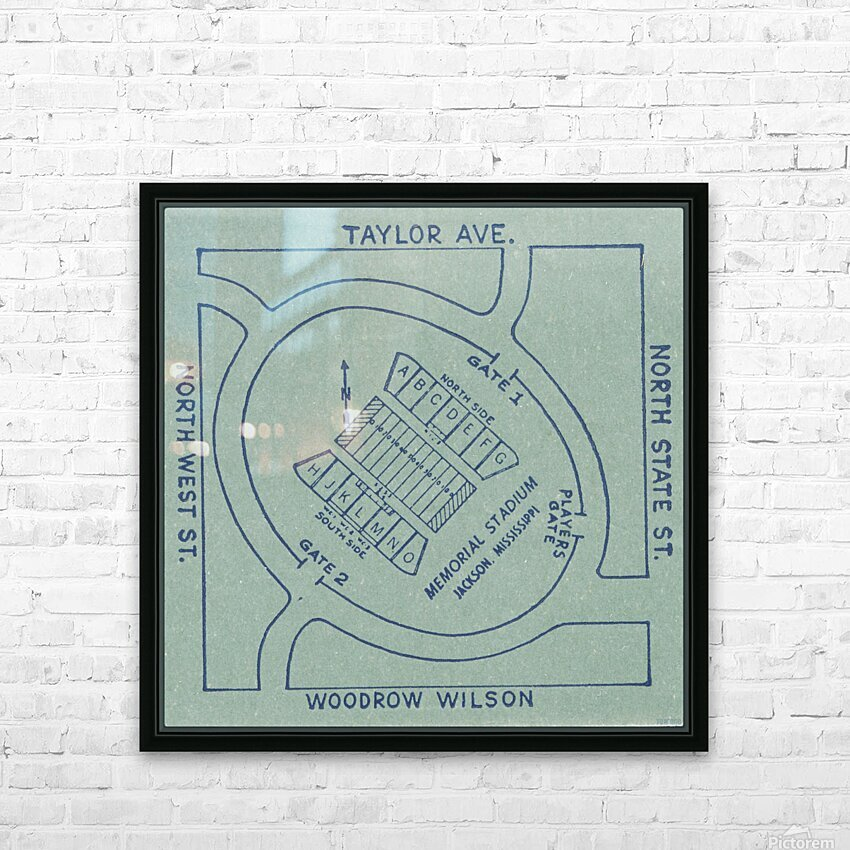 1956 Memorial Stadium Map Jackson MS HD Sublimation Metal print with Decorating Float Frame (BOX)