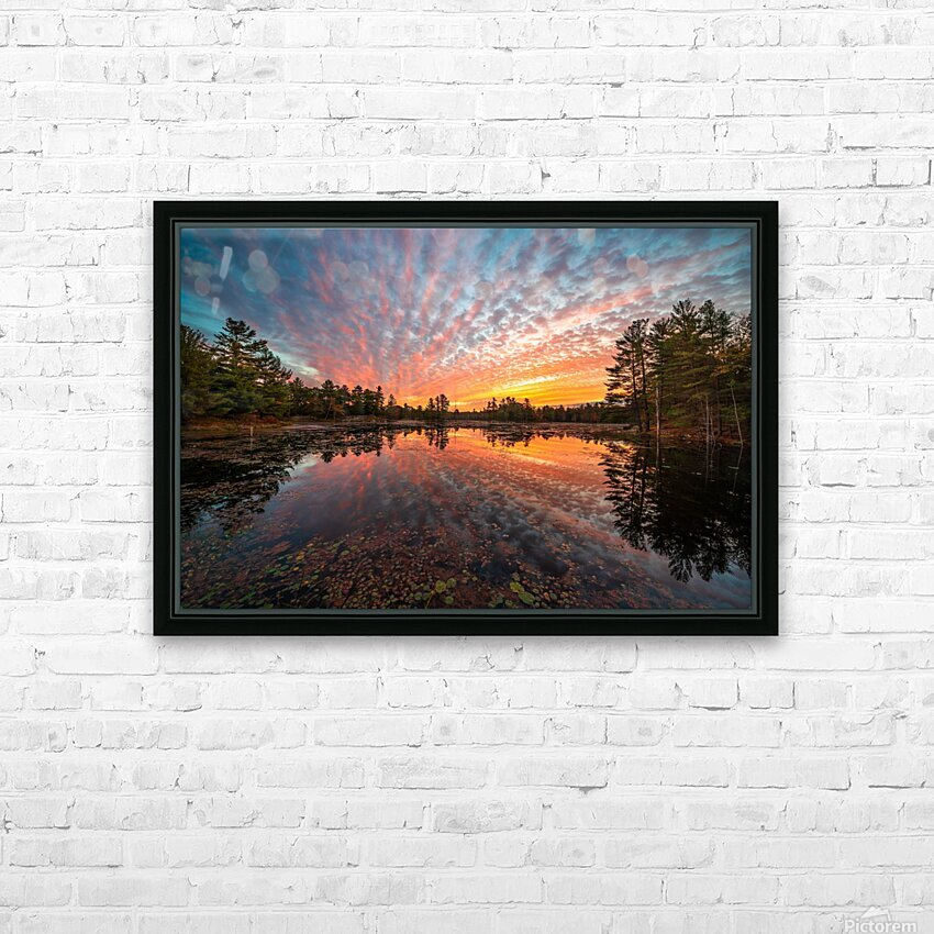 Mountain Rd Pond HD Sublimation Metal print with Decorating Float Frame (BOX)