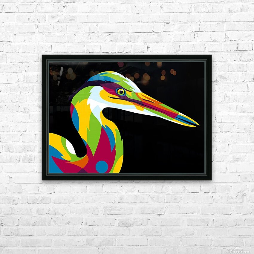 Great Heron in Pop Art Style HD Sublimation Metal print with Decorating Float Frame (BOX)