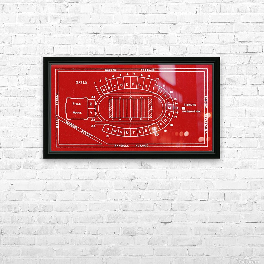 1937 Camp Randall Stadium Map HD Sublimation Metal print with Decorating Float Frame (BOX)