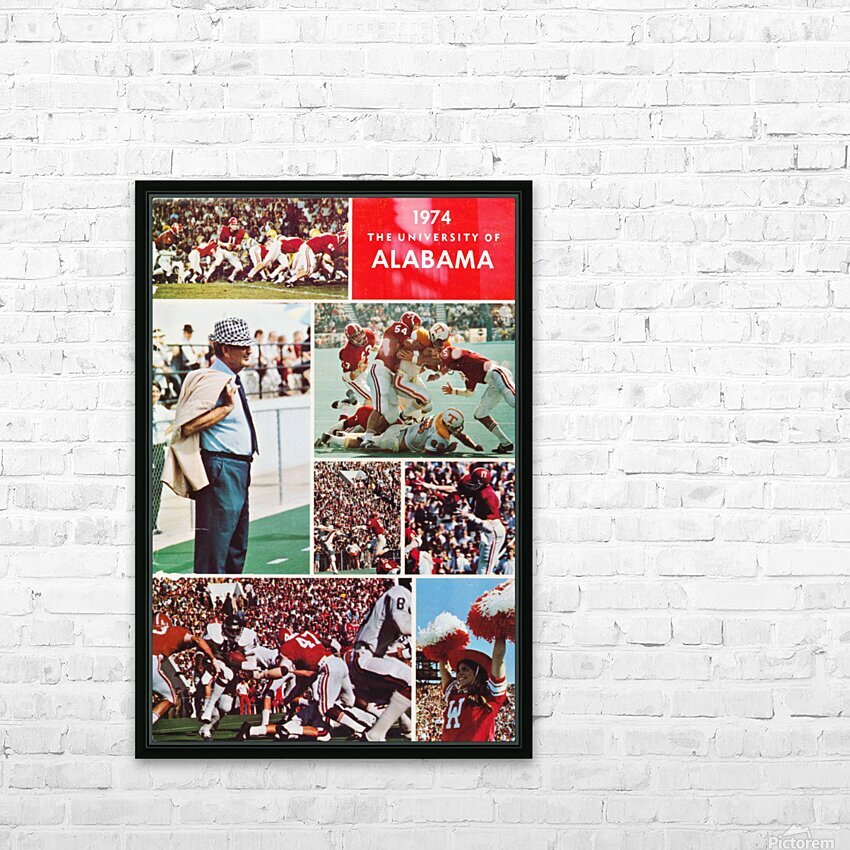1974 Alabama Football Print HD Sublimation Metal print with Decorating Float Frame (BOX)