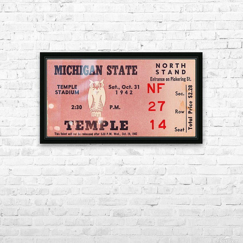 1942 Michigan State vs. Temple HD Sublimation Metal print with Decorating Float Frame (BOX)