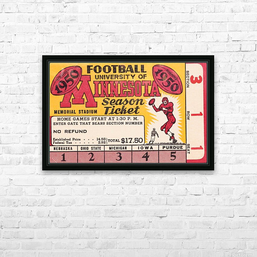 1950 University of Minnesota Season Ticket HD Sublimation Metal print with Decorating Float Frame (BOX)