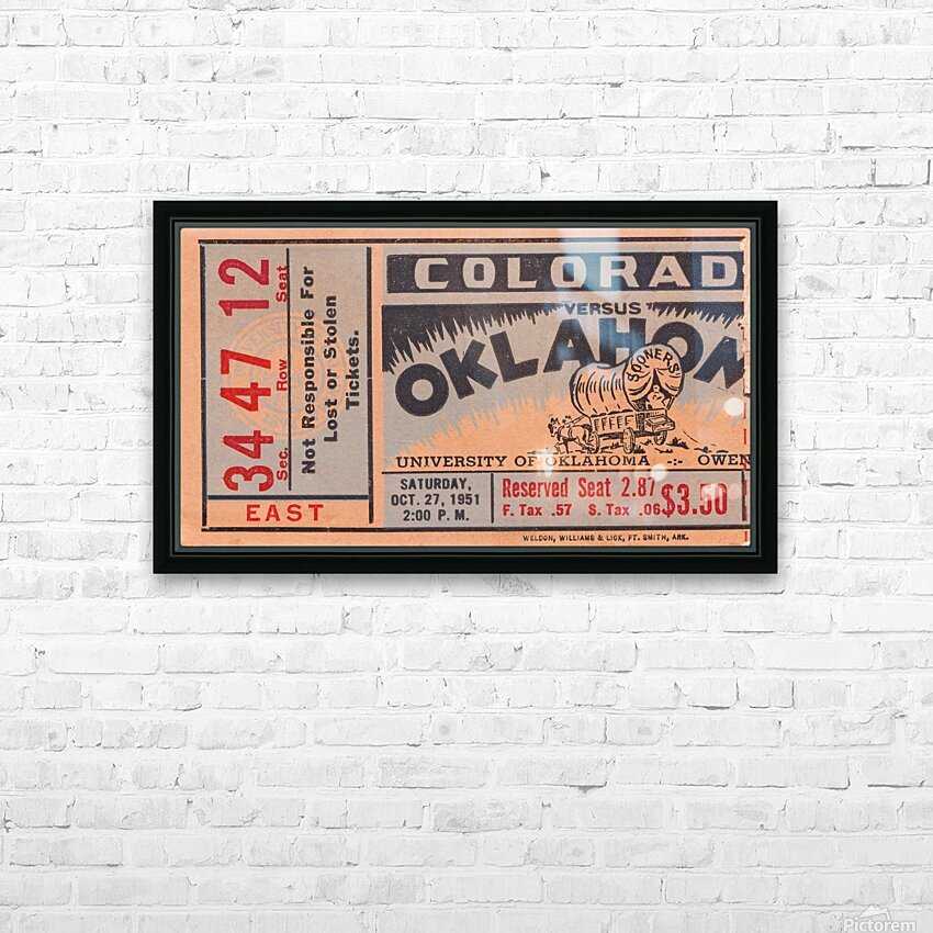 1951 Oklahoma vs. Colorado HD Sublimation Metal print with Decorating Float Frame (BOX)