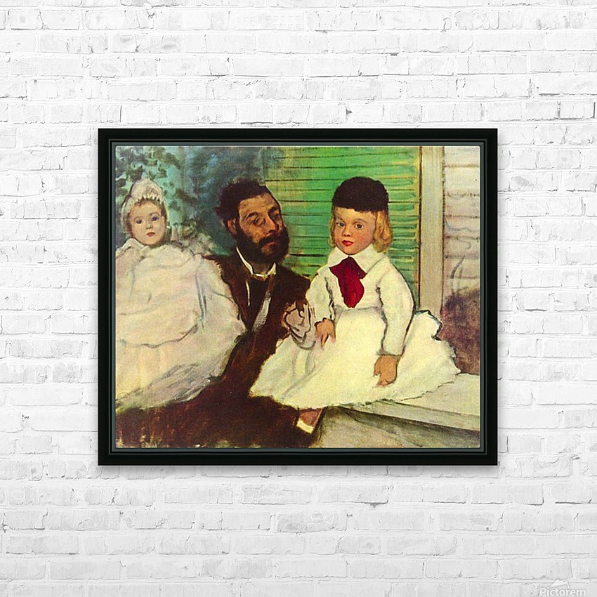 Portrait of Count Lepic and his daughters by Degas HD Sublimation Metal print with Decorating Float Frame (BOX)